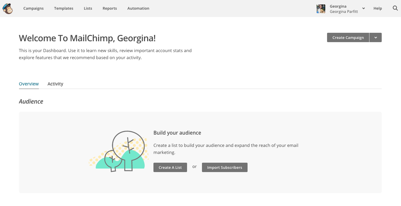 MailChimp good onboarding experience