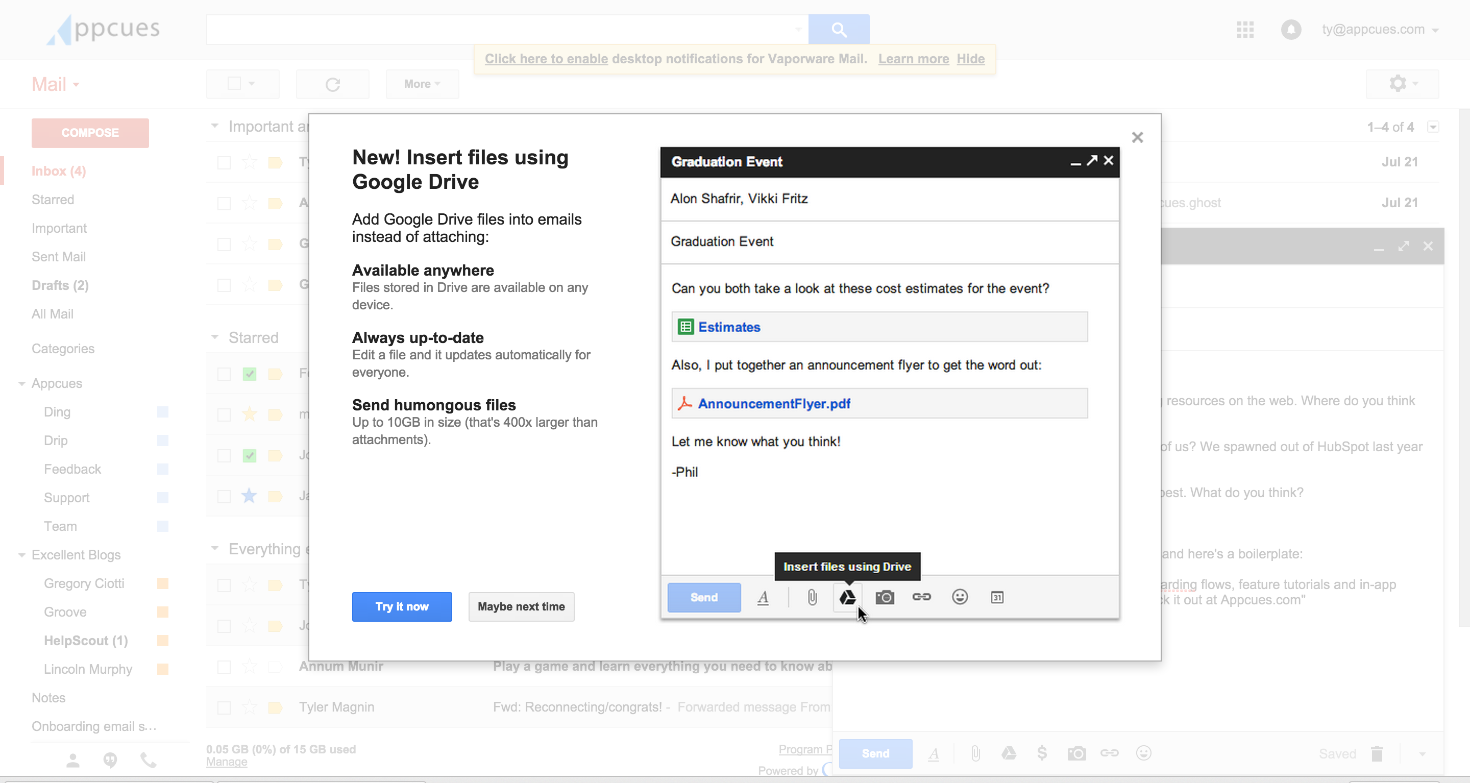 gmail tooltip for engagement