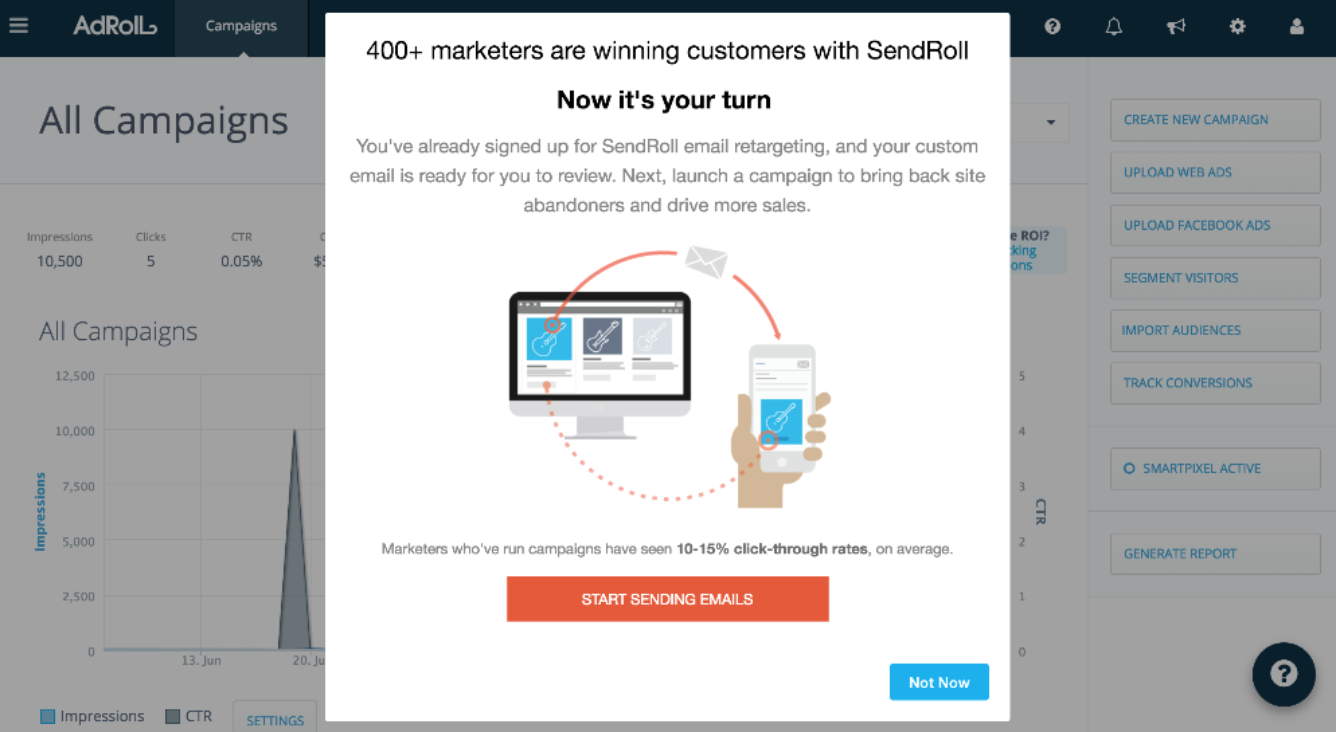 A screenshot of AdRoll's SendRoll feature announcement
