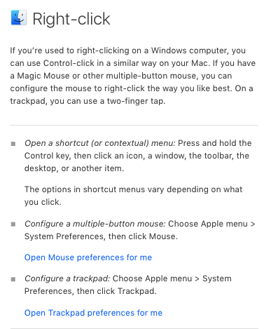 A screenshot of how Mac's Finder directs users with a lot of non-contextual text prompts.