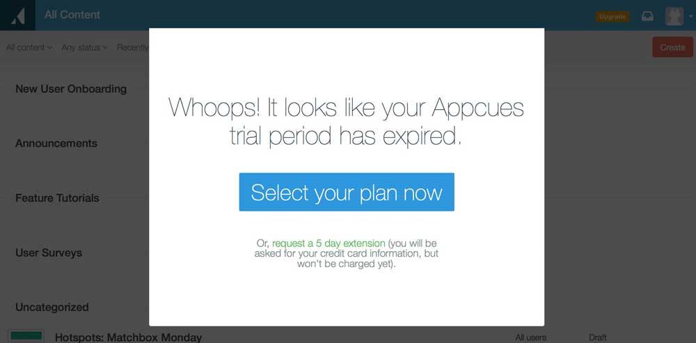 The Appcues trial paywall