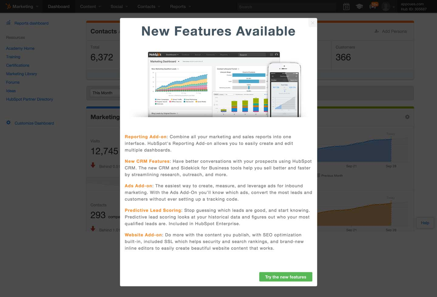 HubSpot Product Launch In-App Announcement