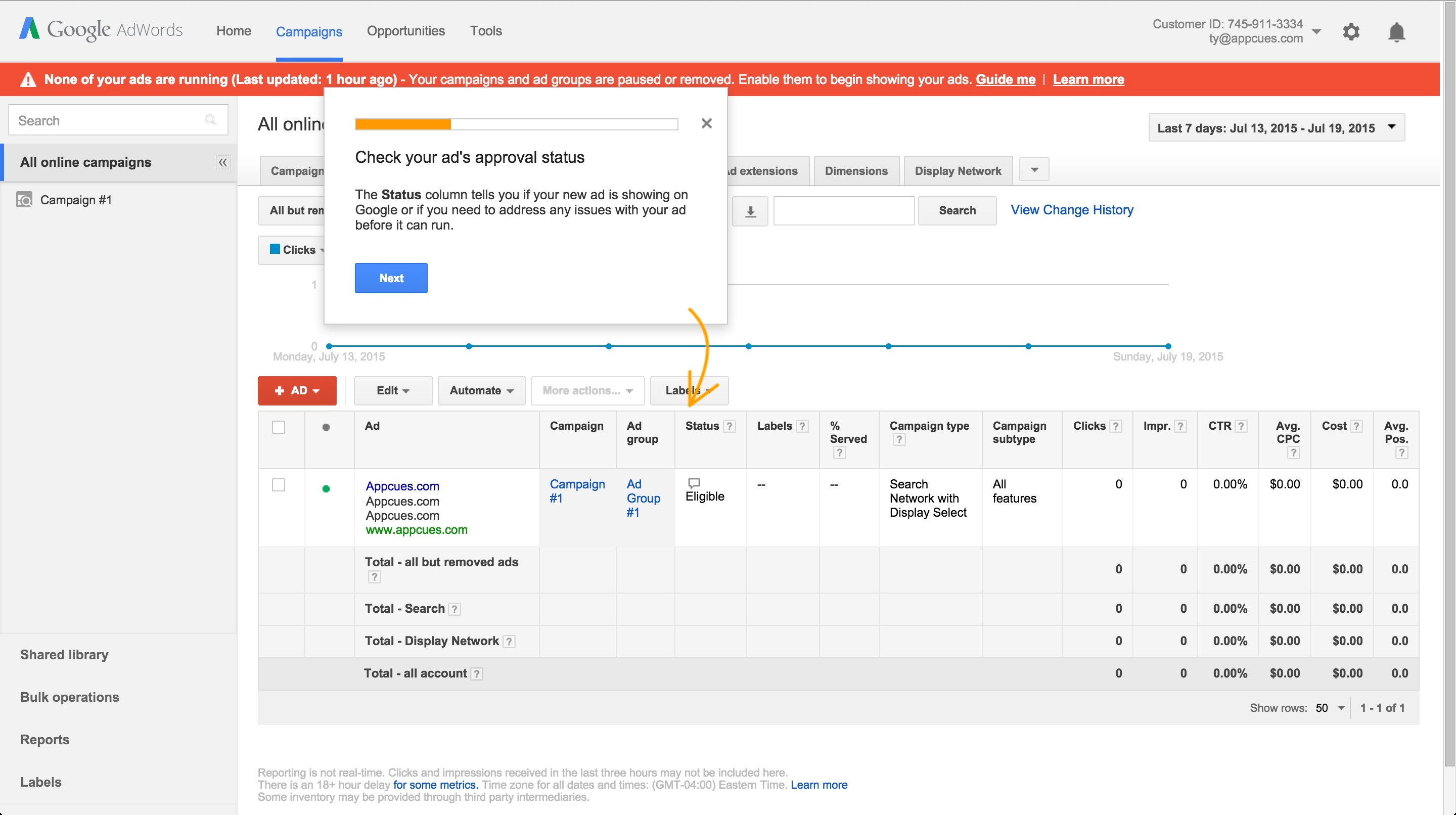 Adwords onboarding tour step 4