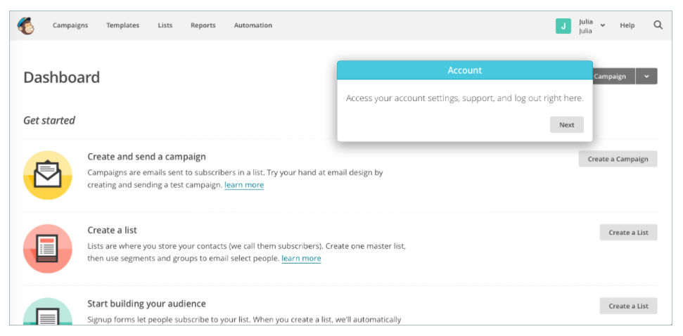 mailchimp onboarding old experience