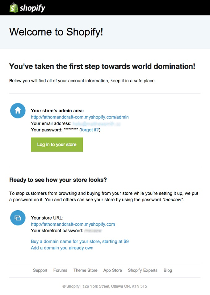 welcome shopify
