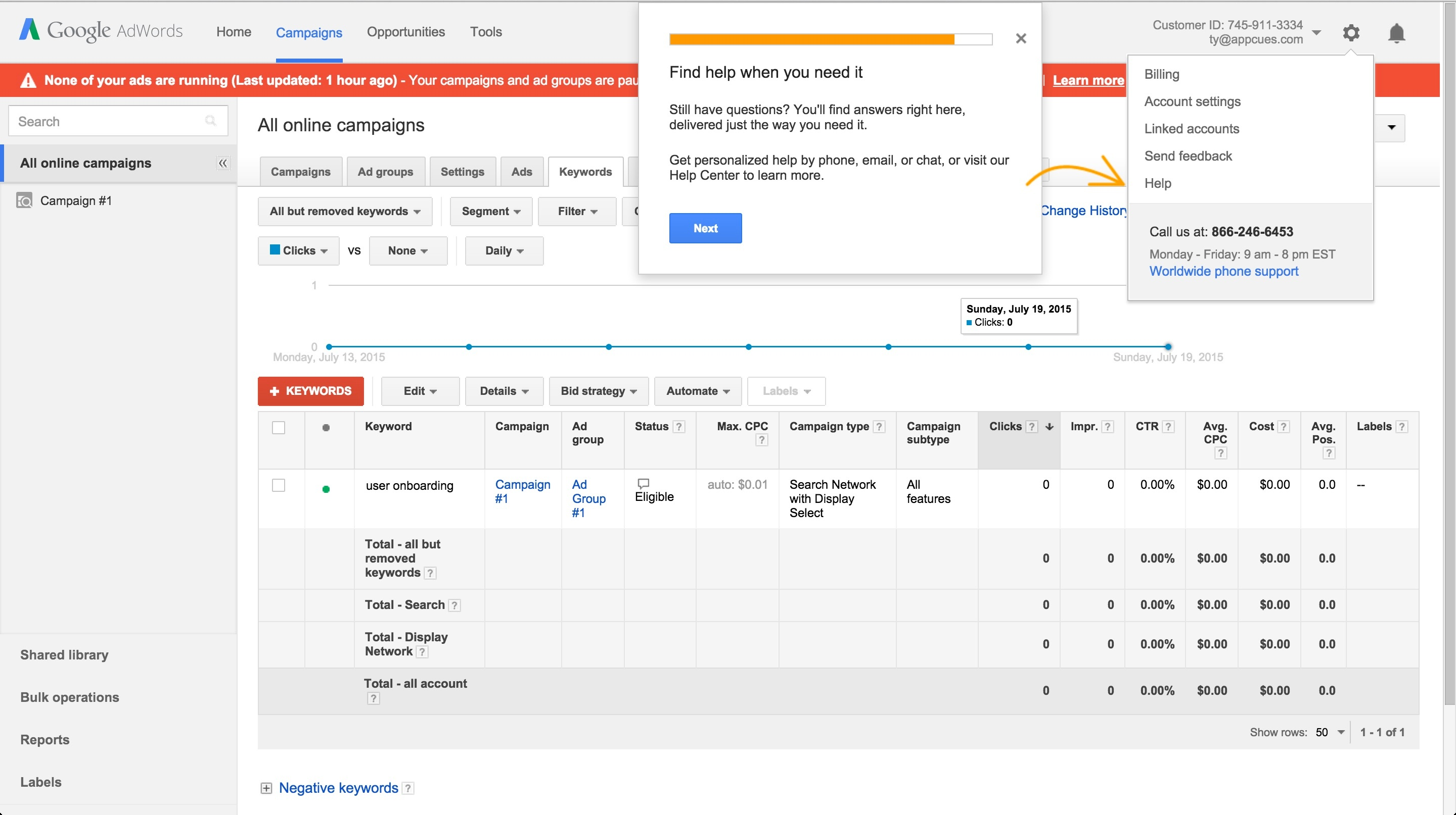 Adwords onboarding tour step 13