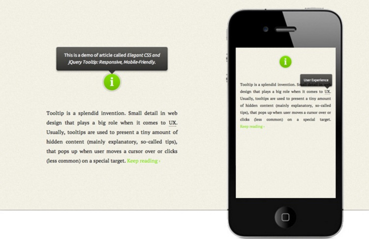 Responsive Mobile Friendly Tooltip