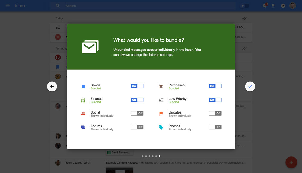 Google Inbox's walkthrough modals - step 6