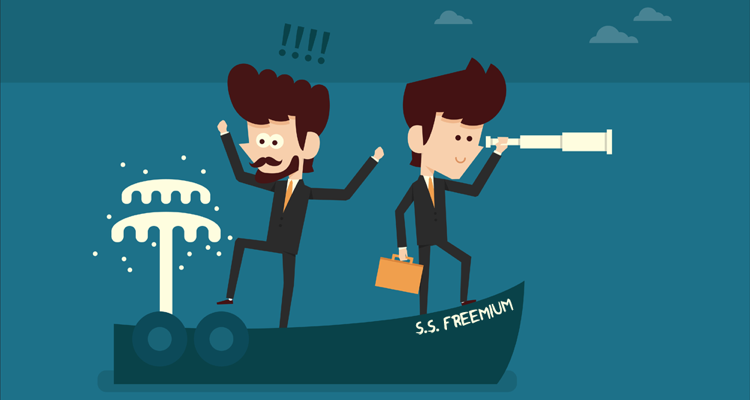 "Two cartoon men onboard the ""S.S. Freemium"""