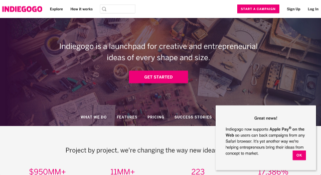 indiegogo slideout feature launch