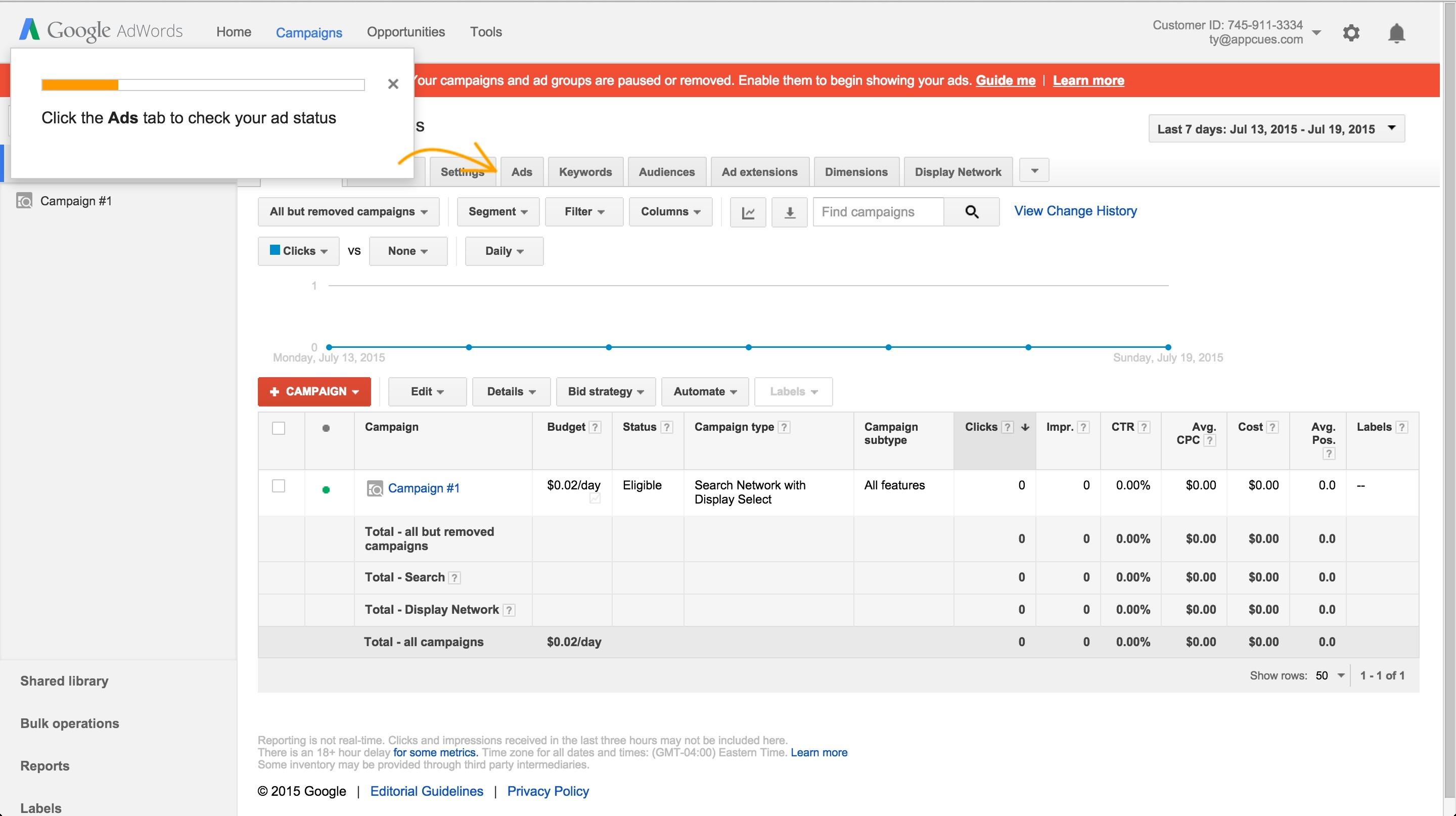 Adwords onboarding tour step 3