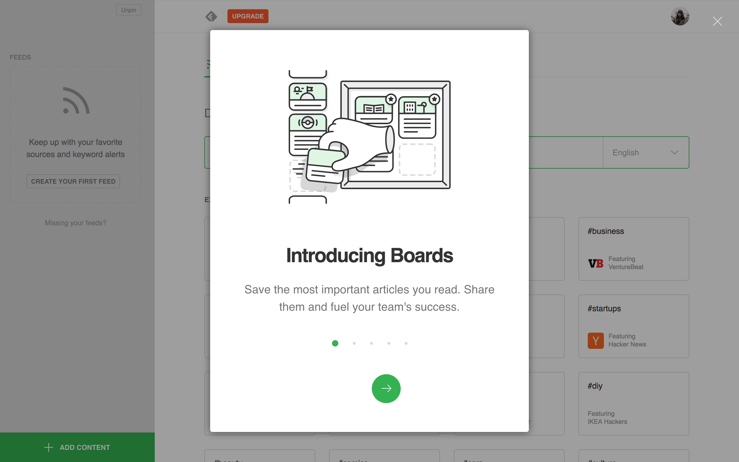 A screenshot of a feature announcement modal overlayed on Feedly's product page