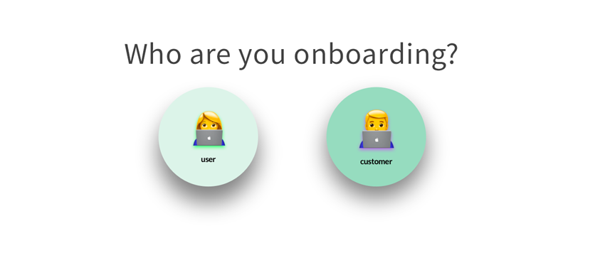 """An image showing two emojis—one representing a user and the other representing a customer with the text """"who are you onboarding?"""""""