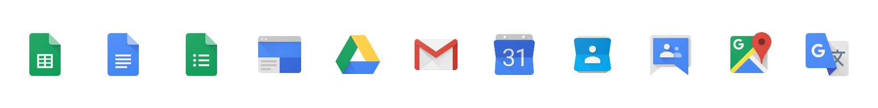 Icons of Google Apps