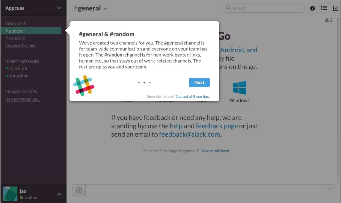 Slack user onboarding flow step 3