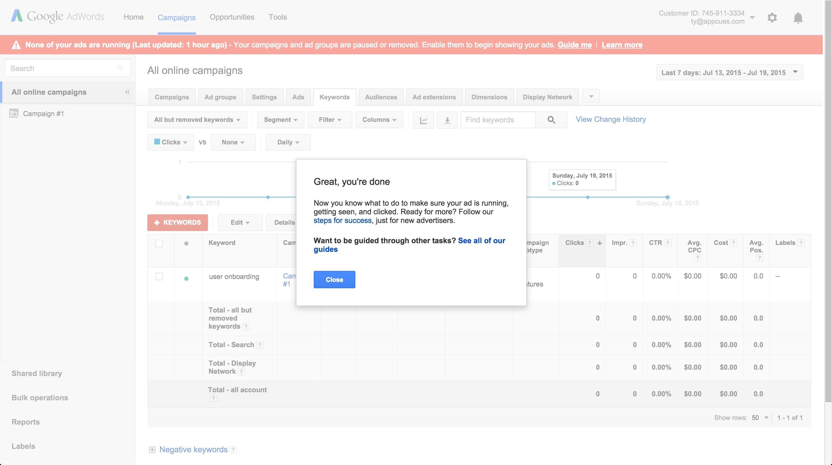 Adwords onboarding tour step 14