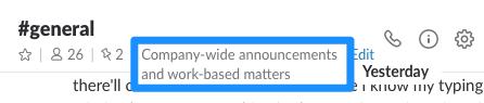 A screenshot of Slack's channel description