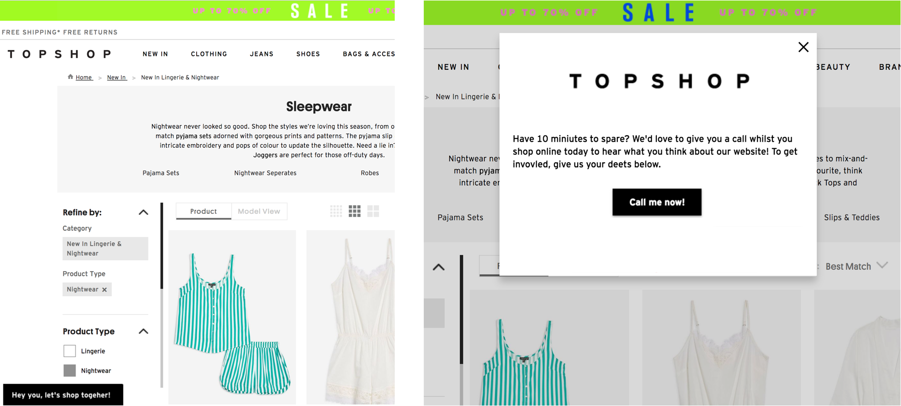 A screenshot of Topshop's modal that invites customers to shop on the line with an employee