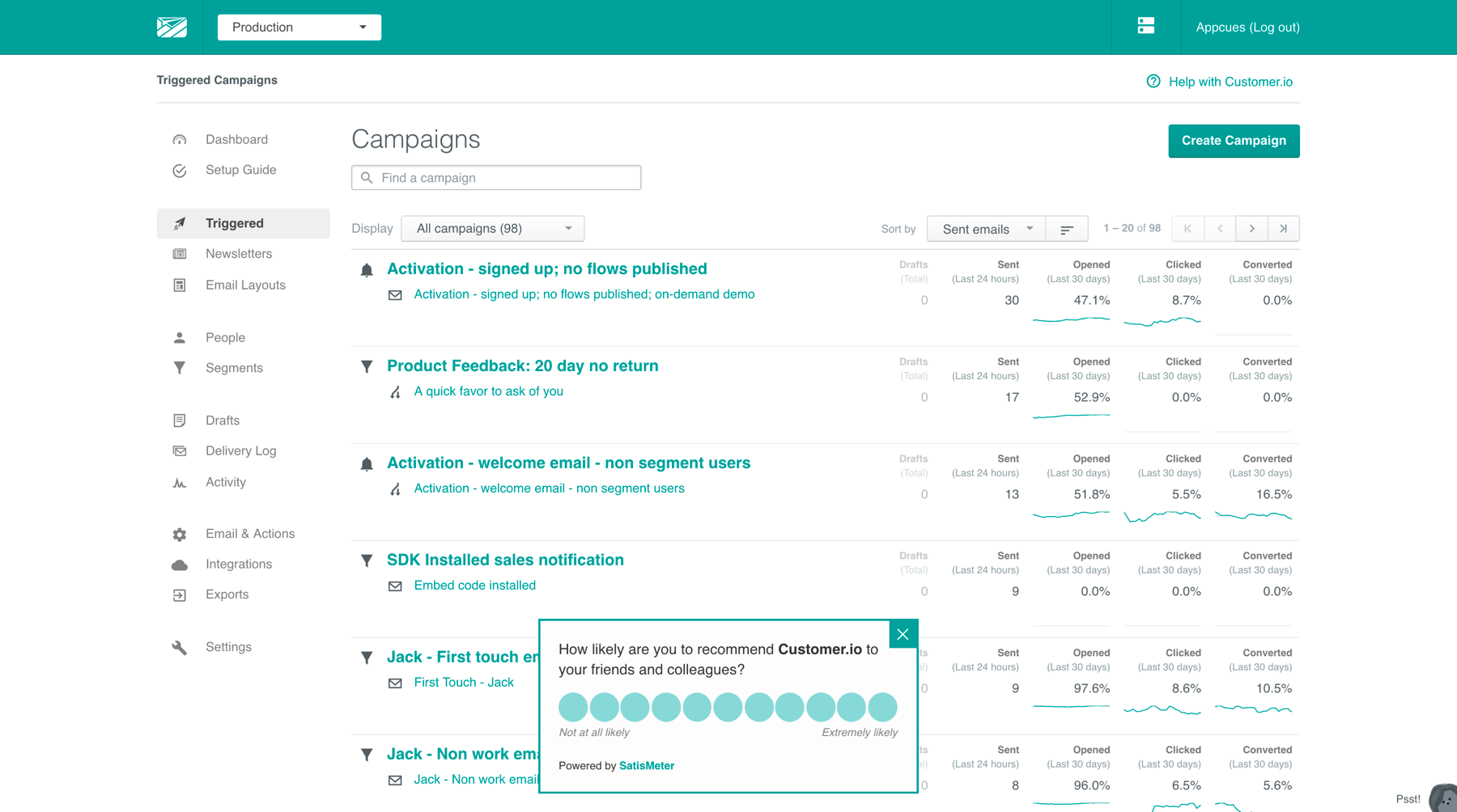 A screenshot of Customer.io's UI with their NPS survey overlayed on it