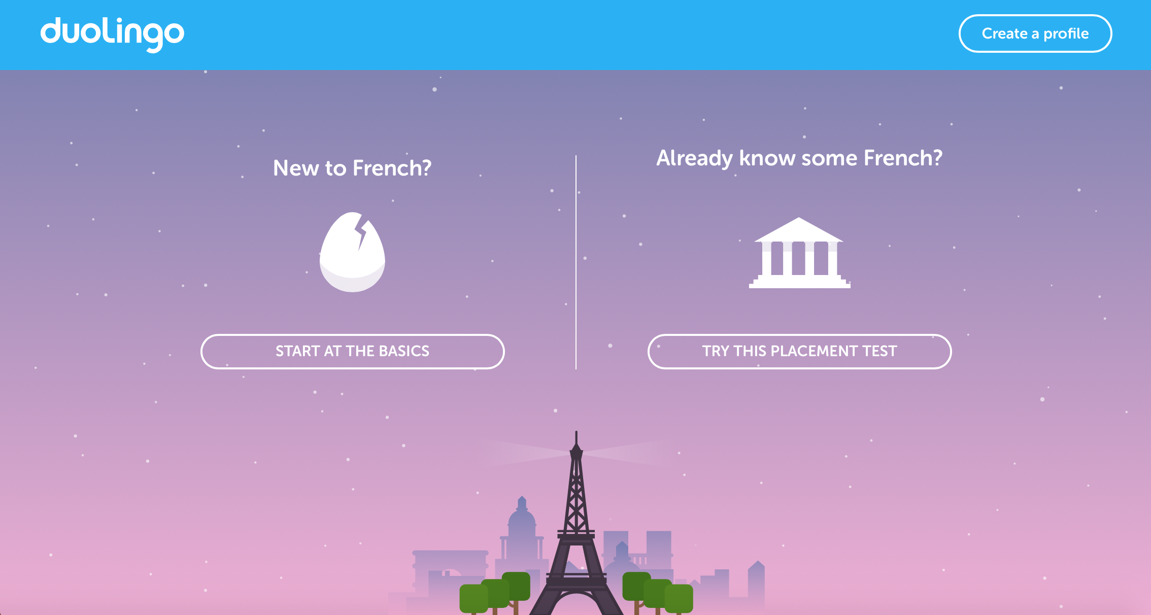 A screenshot of duolingo's personalized user journey