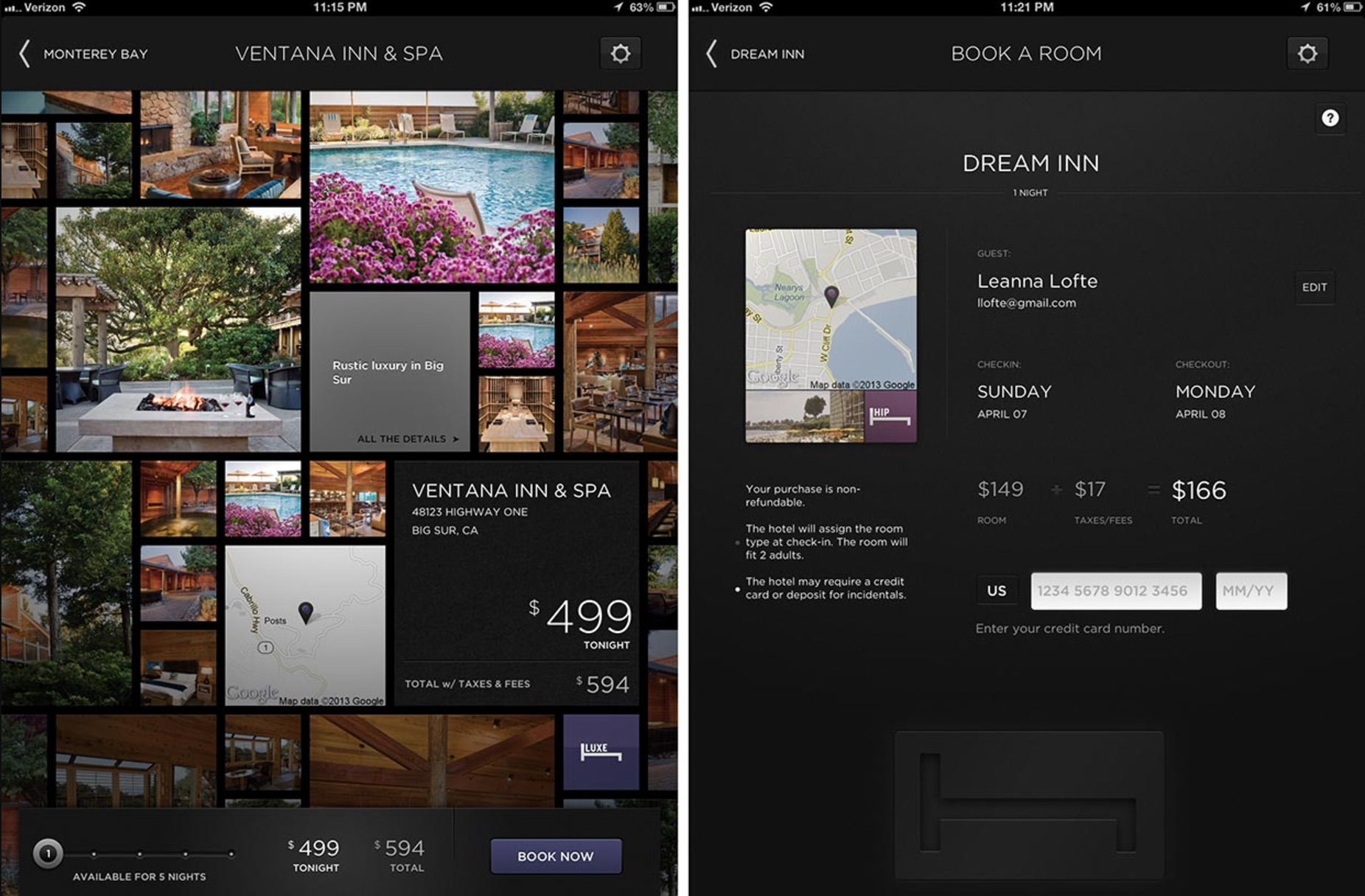 A screenshot of Hotel Tonight's UI, which was created by UX mapping.