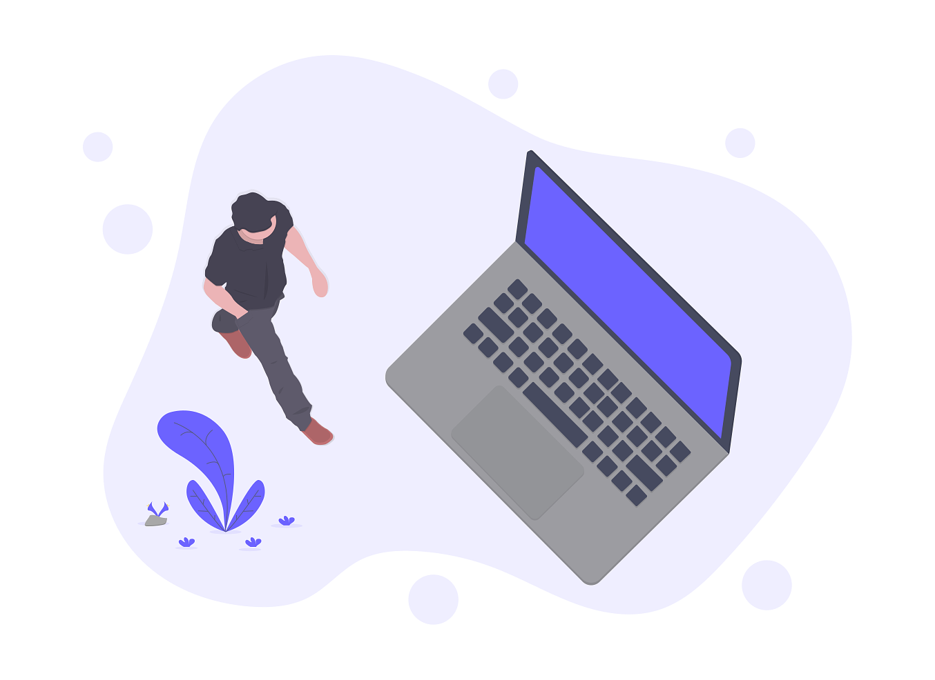 an illustration of a product manager walking toward a laptop showing startup responsibilites