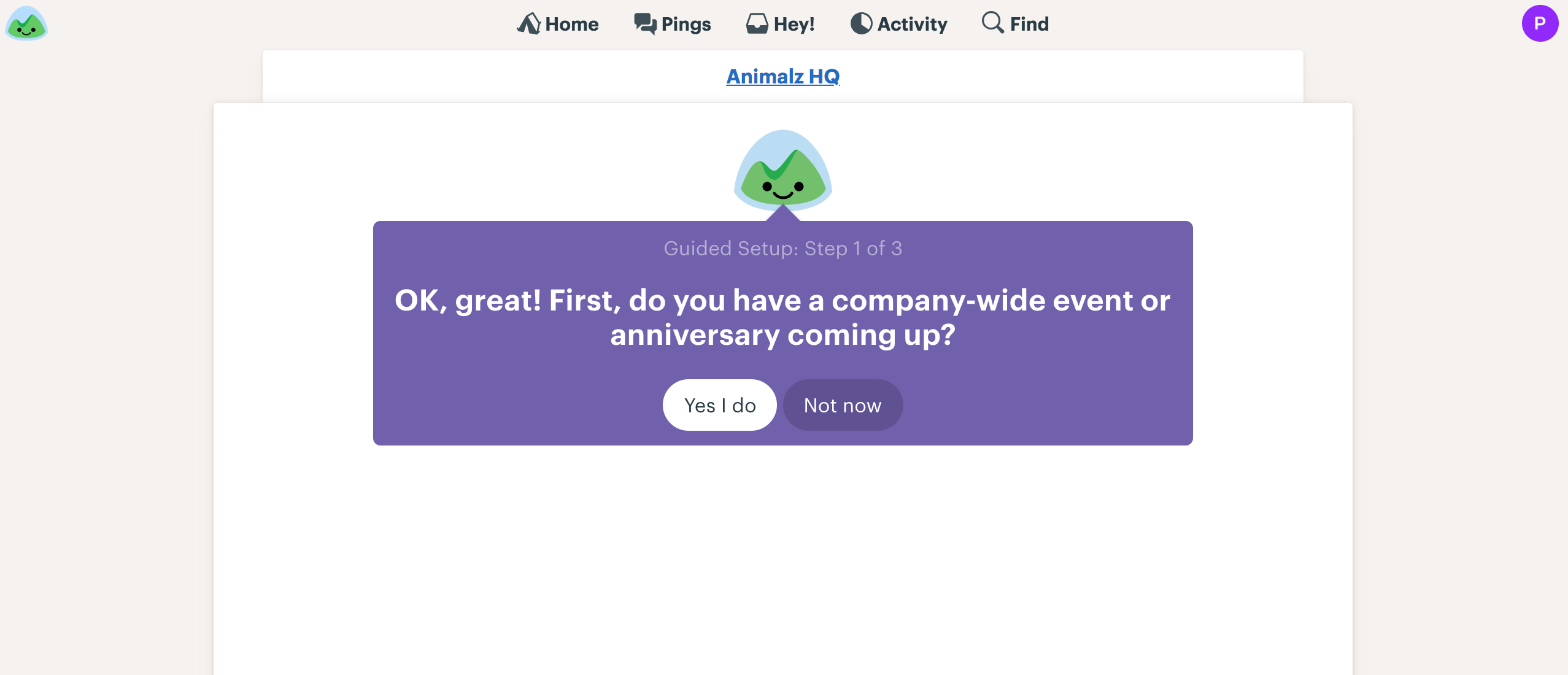 basecamp uses in-app messaging to welcome users and make user onboarding more enjoyable.