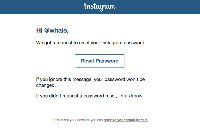 A screenshot of Instagram's password reset flow. This flow follows web standards and looks like most other products. It's simple on the surface, but doesn't provide novel value.