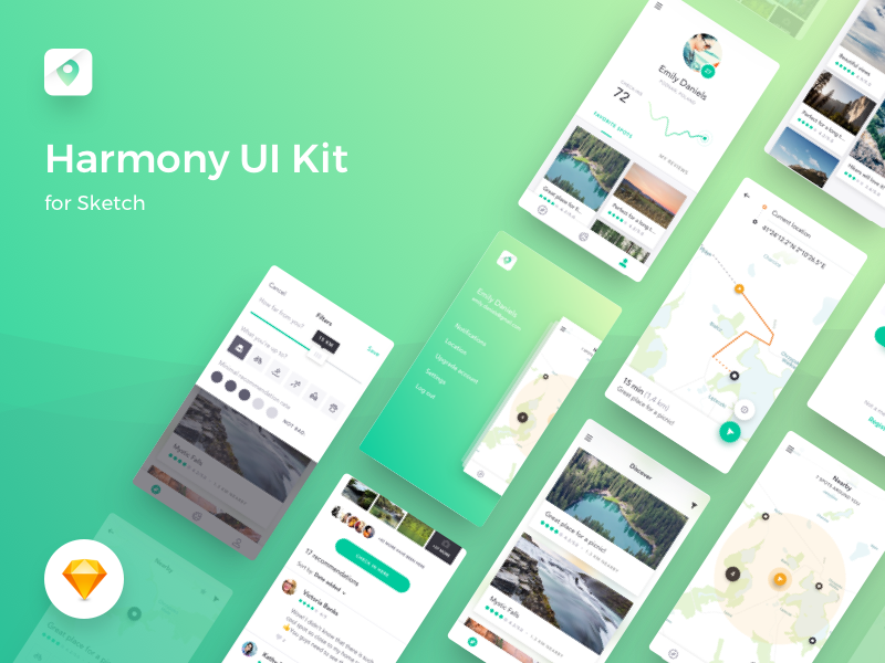Harmony UI kit for Sketch is free to download and has 10 core iOS screens for designing iPhone apps.