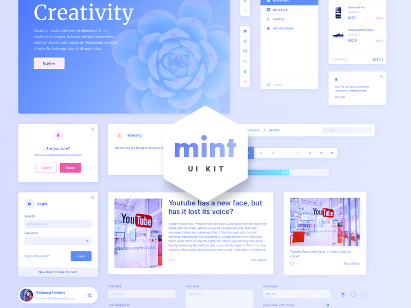 Simple, free sketch UI kit with calming colors for making intuitive interfaces