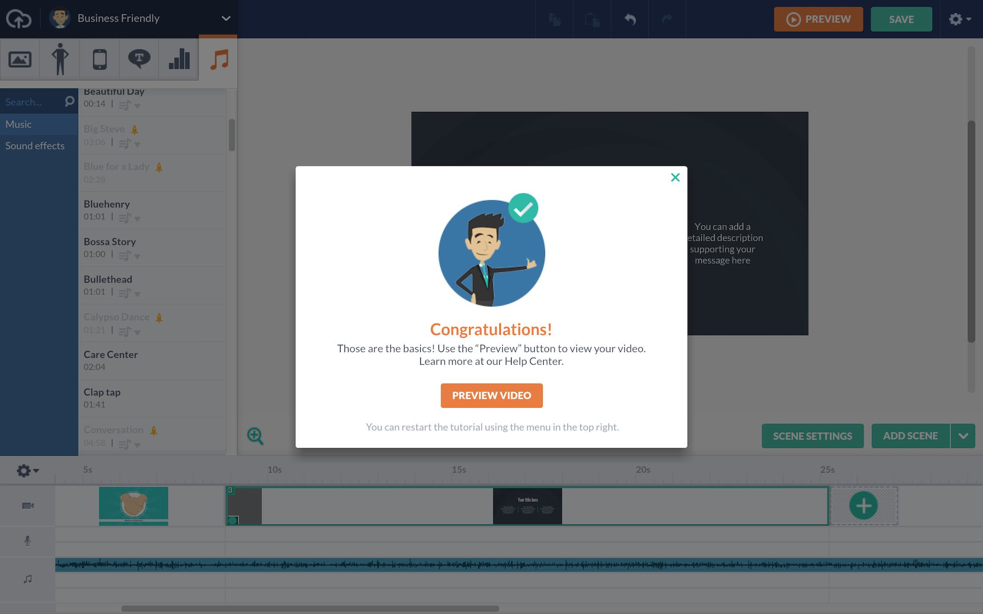 User onboarding example from Vyond congratulates users with a modal for completing task. Reward users using UX