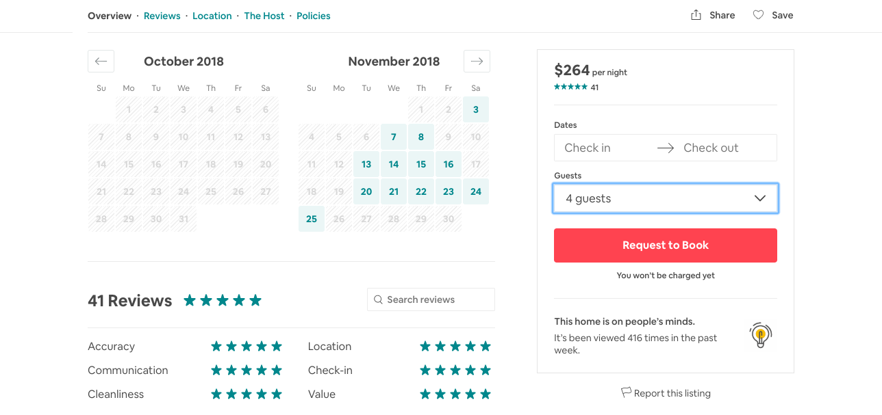 Airbnb's sticky widget is good UX because it encourages users to buy at all points in the page no matter how far they scroll.