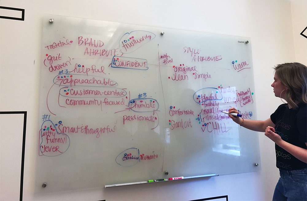 This is a picture of a marketing team brainstorming session. A woman is writing on a whiteboard that has a list of descriptive words. This illustrates a brainstorming technique used in our rebrand process.