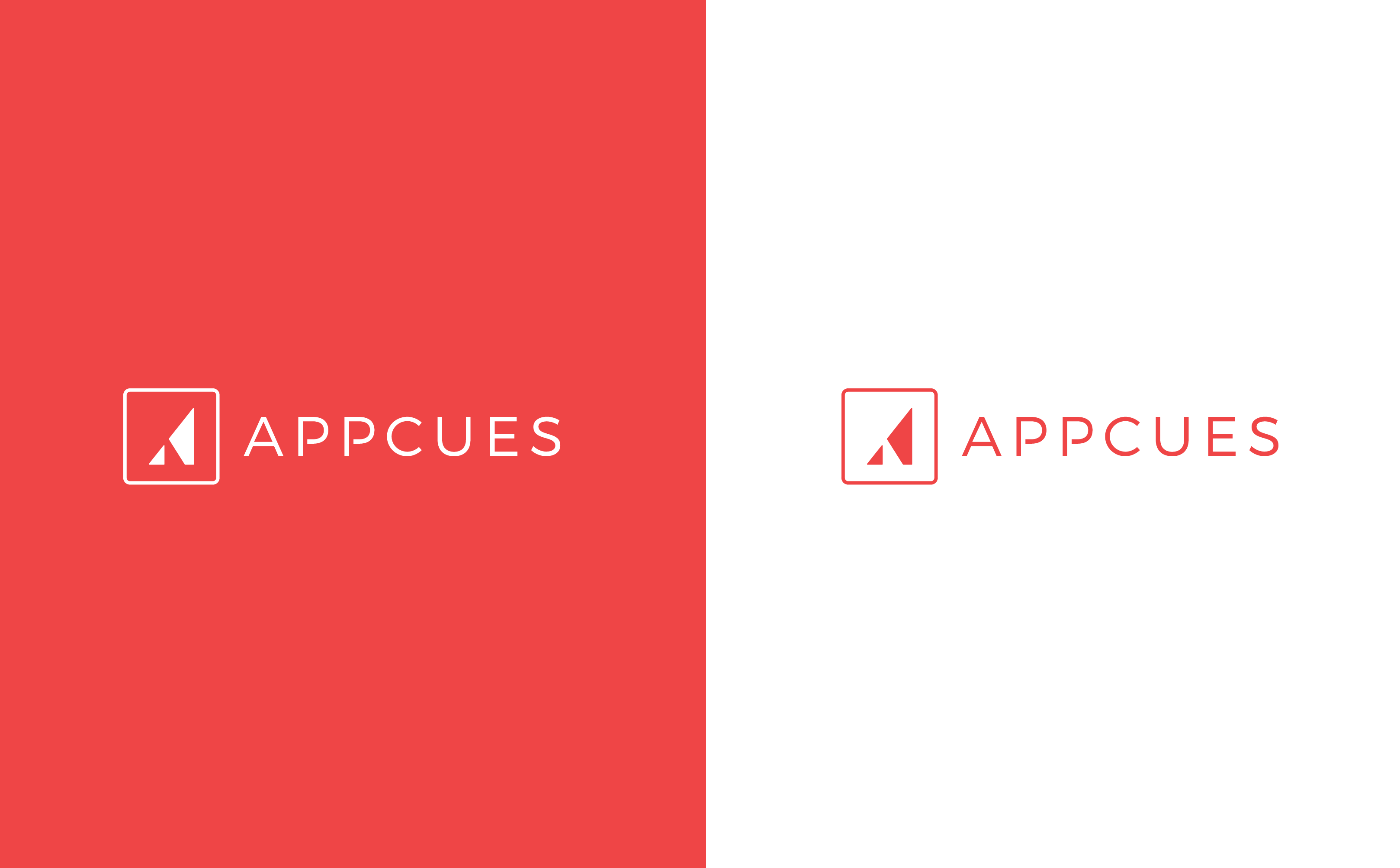 This is our old branding. This image shows the former Appcues logo and our old primary color. On the left is a white logo on a red background, on the right is the red logo and text on a white background.