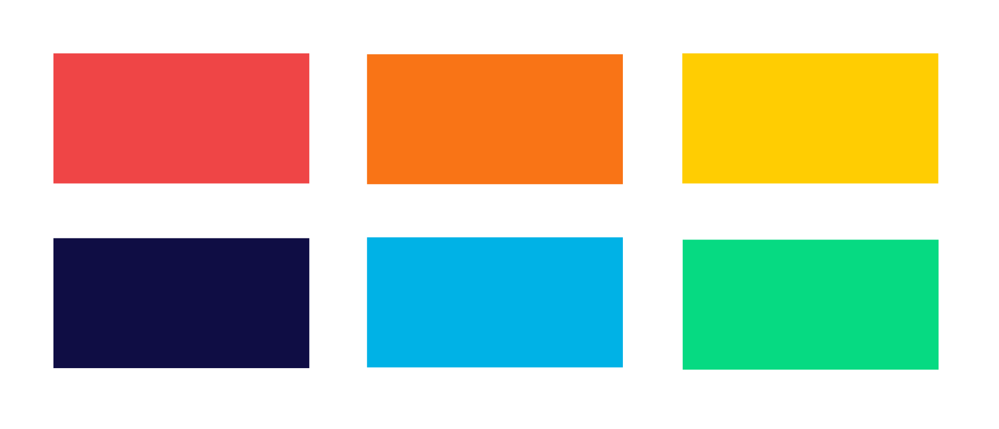 Six colored blocks showing our old brand colors. From top left, our old brand colors were red, orange, yellow, navy, blue, and green.