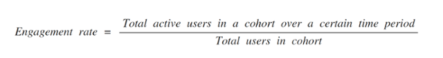 This formula shows that engagement rate equals total active users in a cohort over a certain period of time, divided by total users in a cohort