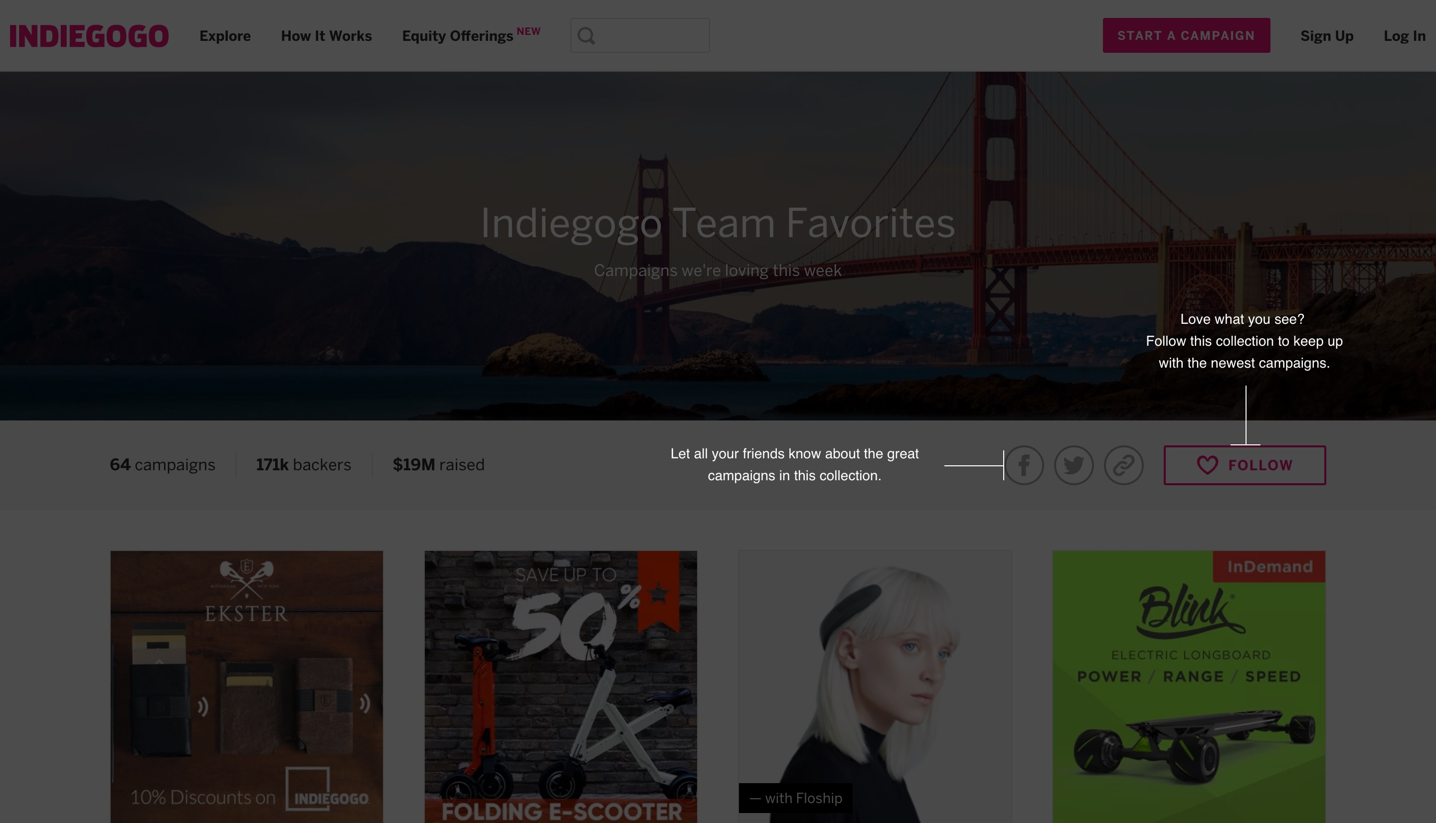 This image shows indiegogo's coach marks, which help users discover new features by highlighting important buttons