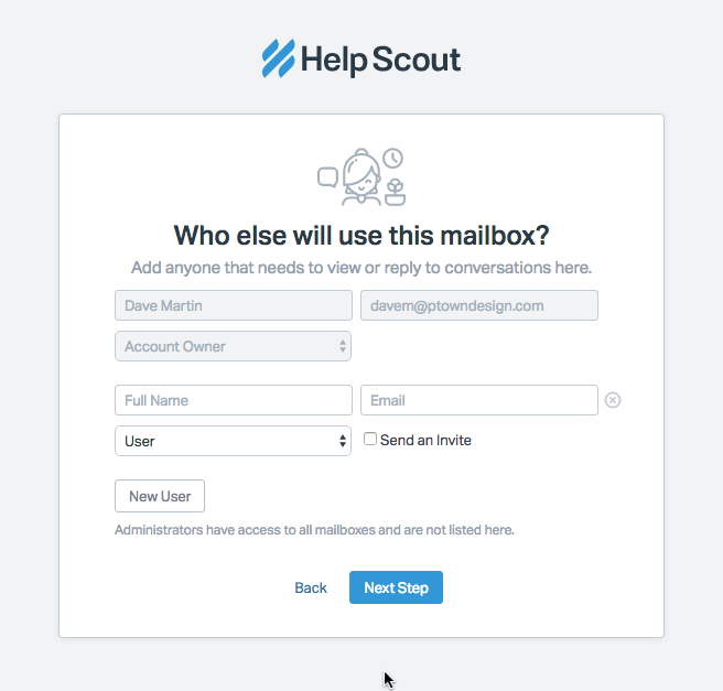 This is a screenshot of HelpScout's invite another user screen. Some users were confused by the grayed out account owner field.