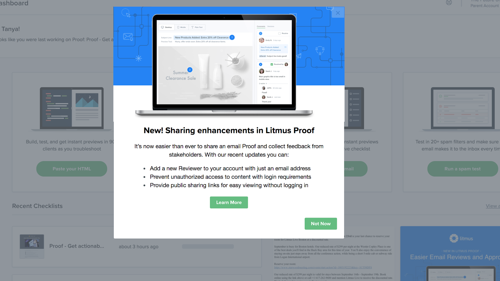 """This screenshot shows a new feature announcement example from Litmus. It shows a modal that says """"new! sharing enhancements in Litmus Proof"""" and gives more information about the new feature. This is a feature announcement example built using Appcues."""