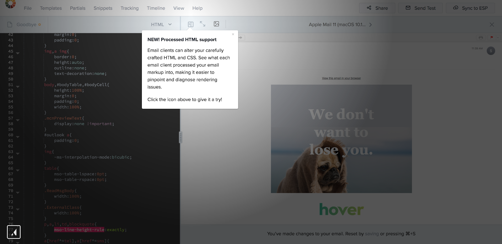 """This is an example of a tooltip used for new feature adoption. This tooltip was built with Appcues and is from the Litmus email marketing product. It shows an announcement that says """"new! processed html support"""" that points to an icon on a screen."""