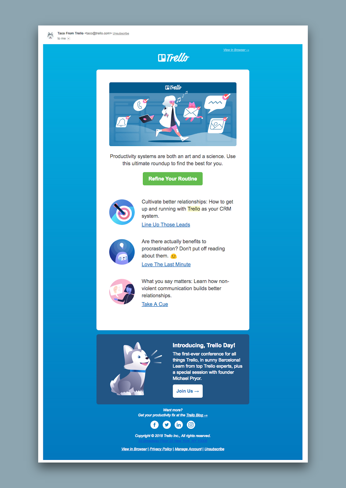 """This is an example of a good SaaS newsletter from Trello. It is a screenshot of an email with a blue background and an illustration with a CTA that says """"refine your routine"""""""