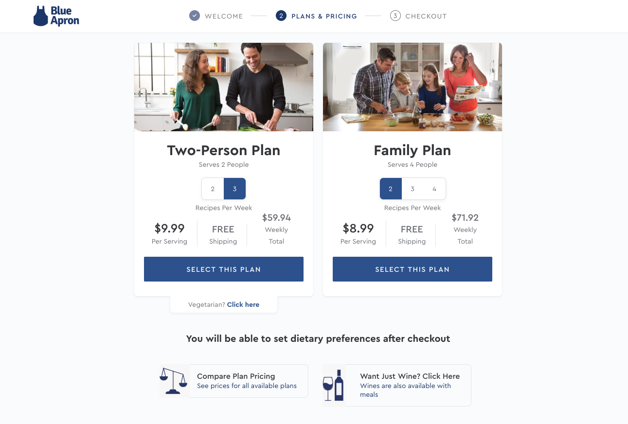 This image shows Blue Apron's signup page which is a good example of limiting options for better UX.There are two plan options. One is a two-person plan and shows a couple cooking. The other is a family plan and shows a family of four. You can select dietary preferences and wine pairings after checkout.