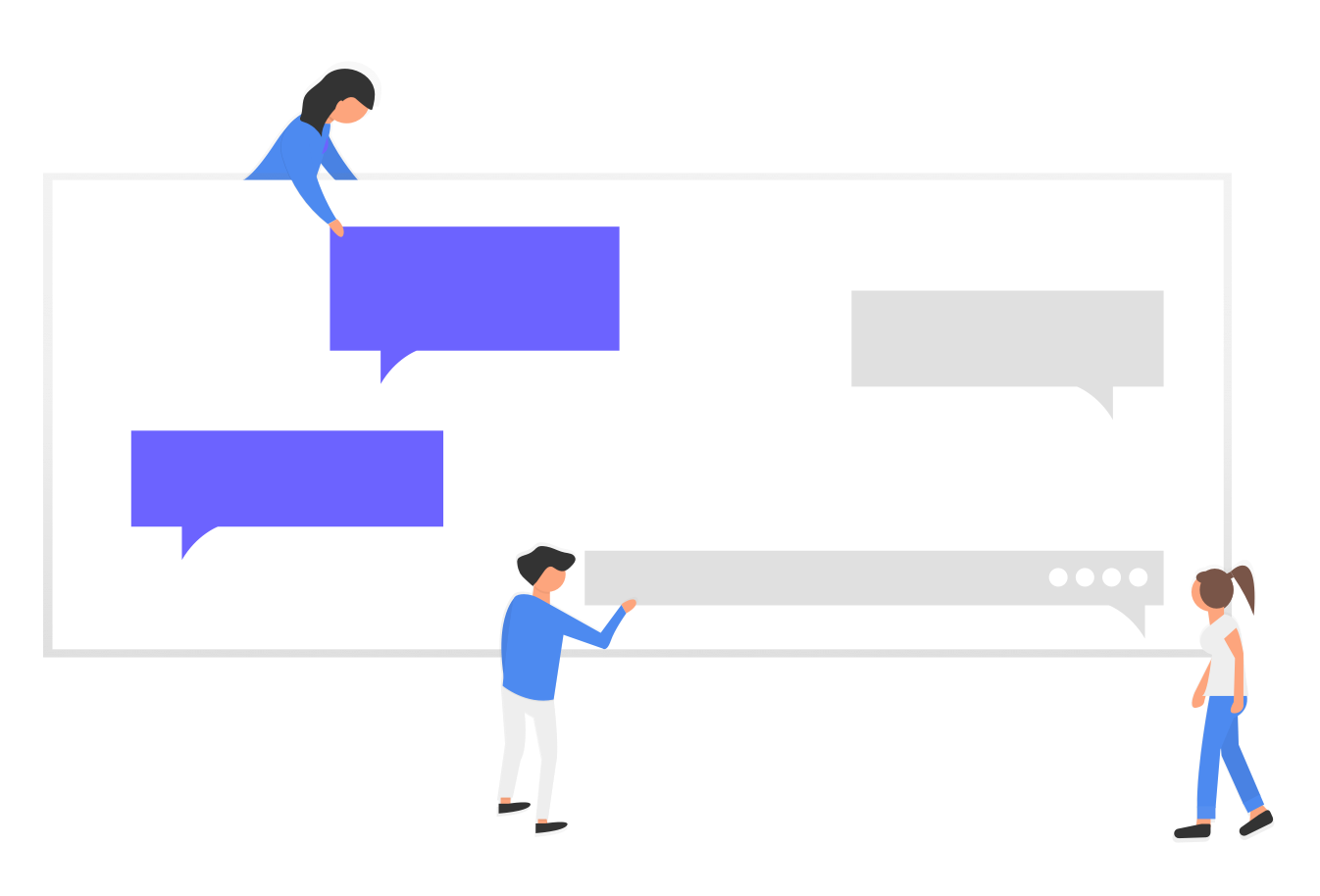 This is an illustration of three people pointing at different tooltips, which are a UI pattern common in onboarding. The tooltips are grey and purple.