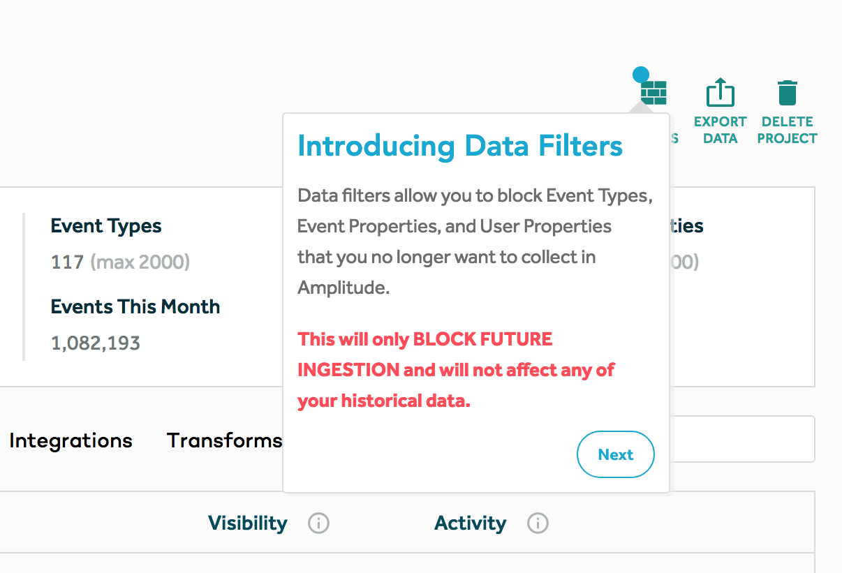 """This is a screenshot of a good new feature release tooltip example from Amplitude. It shows a tooltip pointing to a new feature and the tooltip says """"Introducing Data Filters."""" It then explains the new feature and, in red text, explains how it will and won't affect users. There is a round next button in the bottom right corner."""