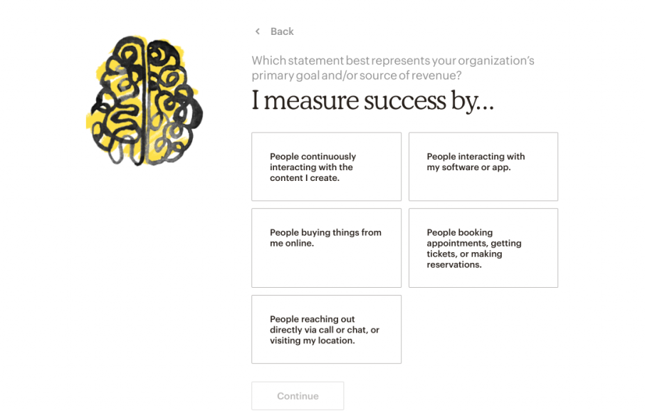 """This is a screenshot of Mailchimp's onboarding flow showing personalization in onboarding. It shows an illustration of a brain colored in with yellow and the personalization prompt """"I measure success by..."""" followed by 5 answers."""