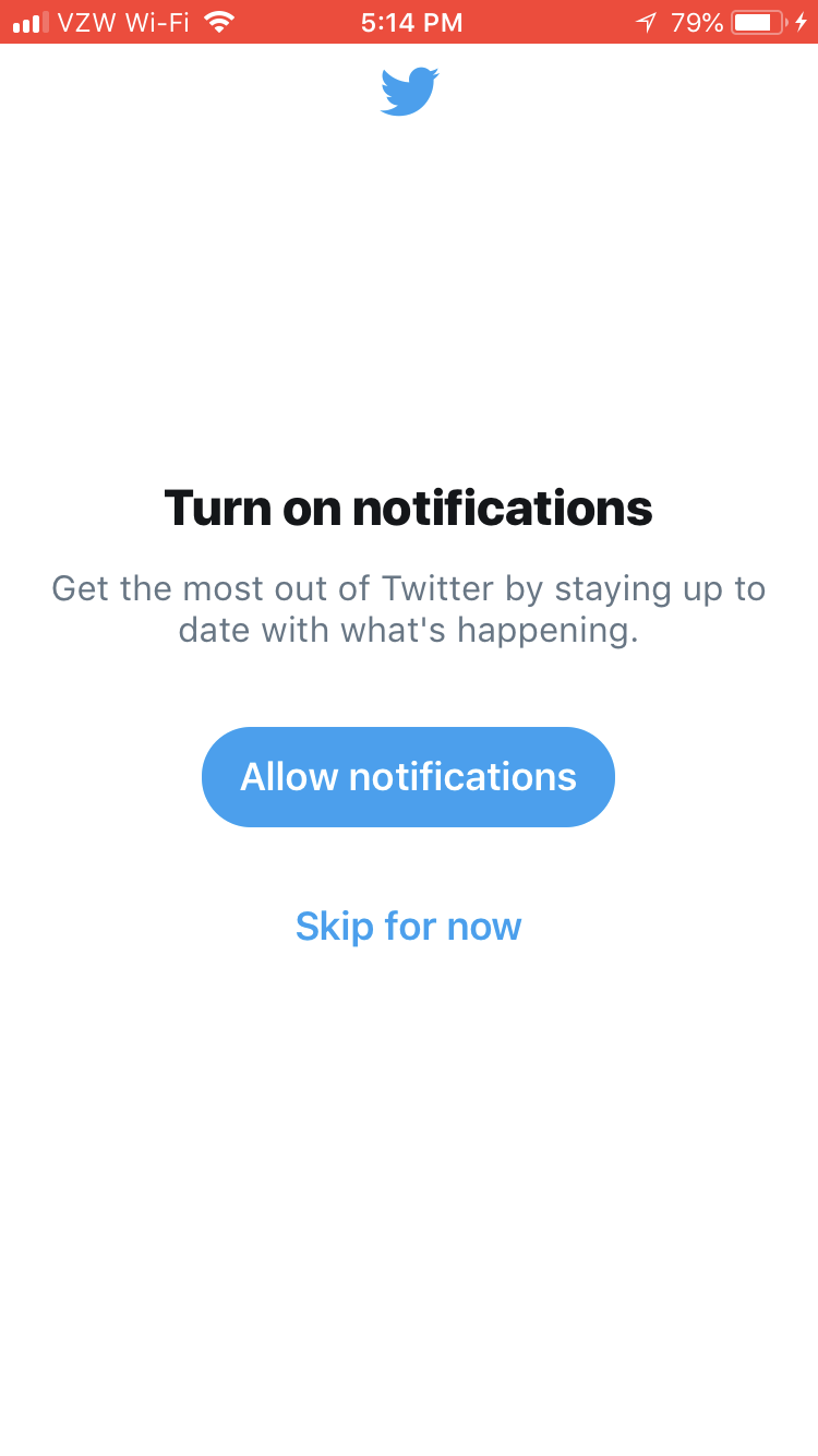 this is a screenshot of Twitter's permission priming for their mobile app. There is a button to allow notifications and an option to skip for now.