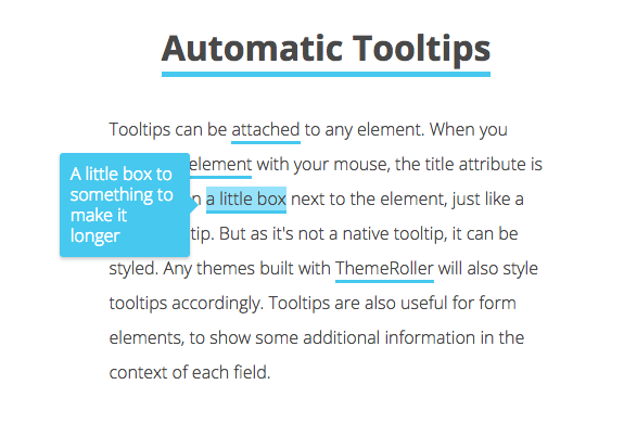 This is an image of tooltips attached to text. This tooltip is made with javascript and is automatically positioned. The text explains that it is not a native tooltip so it can be styled and automatically positioned on any element according to title attrinbute.