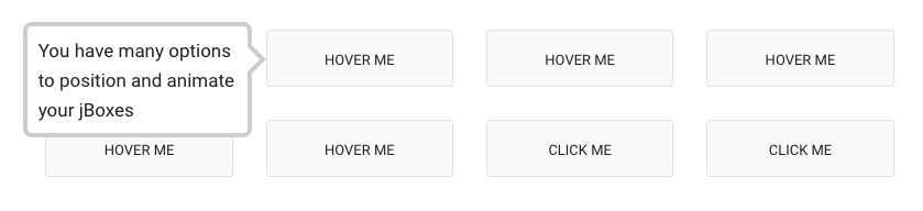 "This is a screenshot of a tooltip that says ""you have many options to position and animate your jboxes"". This is a jquery tooltip plugin that is fully responsive."