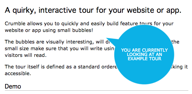 This is an interactive produt feature tour for websites or apps made with an open source jquery tooltip plugin. The tooltip is styled and shaped like a bubble.