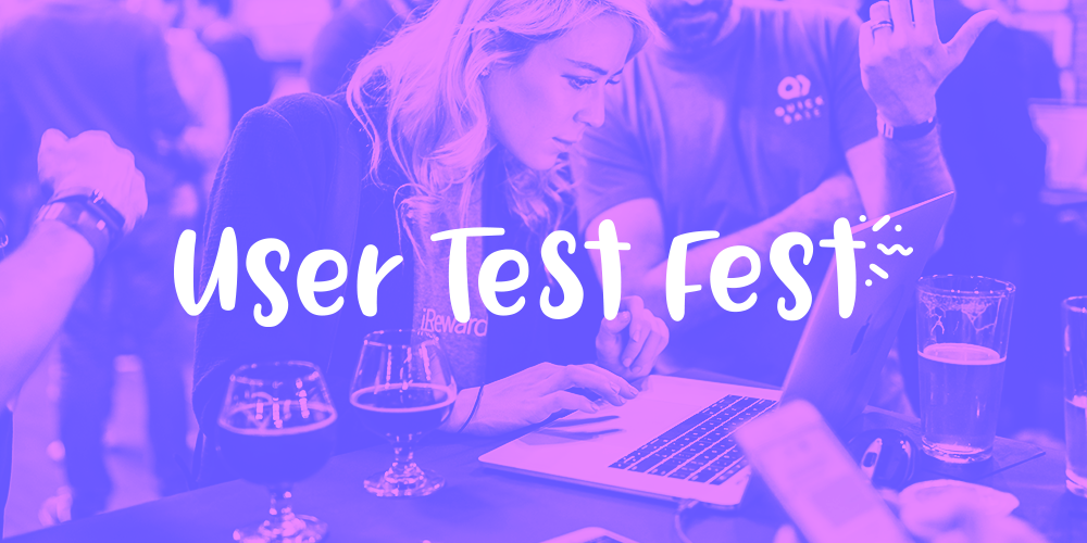 This is a duotone image in blue and pink that shows a woman testing a product on a laptop at a user testing event. This is abanner image for an event called Uer Test Fest, run by Appcues.